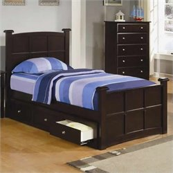 Coaster Jasper Panel Bed in Rich Cappuccino Finish - Twin