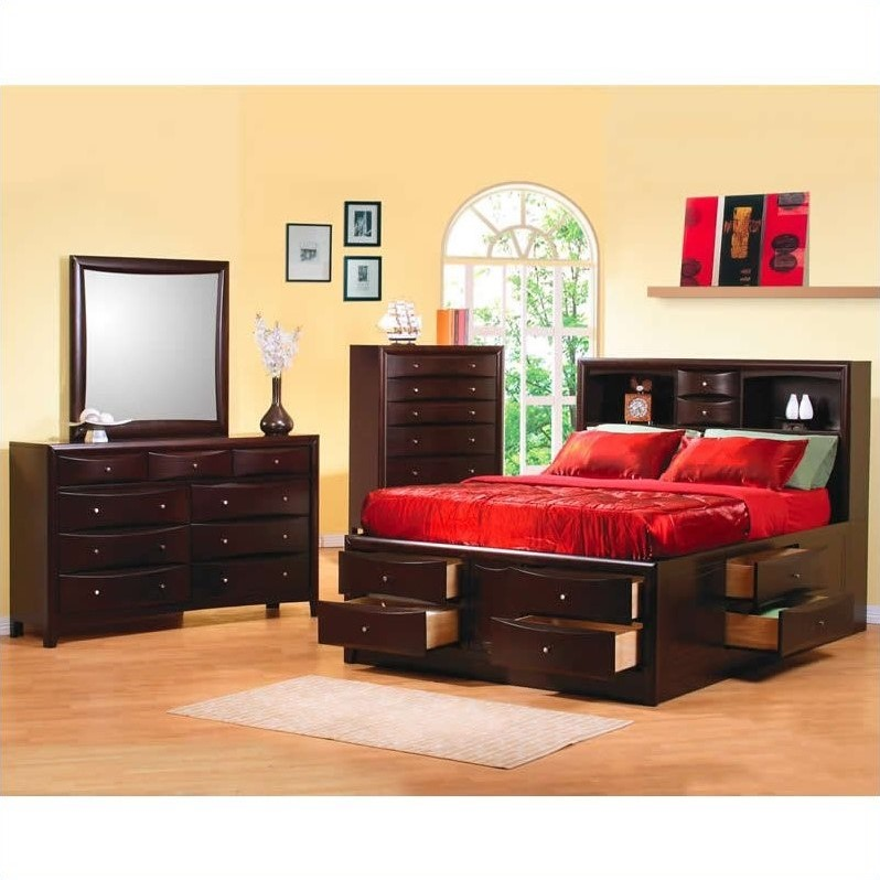 Coaster Phoenix Bookcase Storage Bed 6 Piece Bedroom Set in Cappuccino