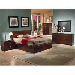 Coaster Joyce Platform Bed 5 Piece Bedroom Set in Light Cappuccino