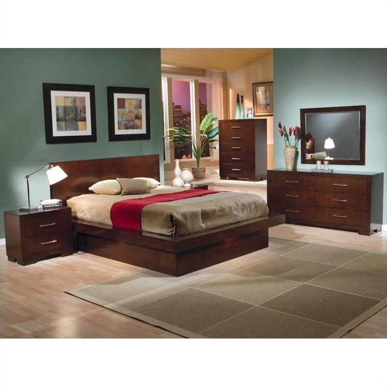 Joyce Platform Bed 6 Piece Bedroom Set in Light Cappuccino