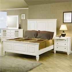 Coaster Malibu Classic Panel Bed 5 Piece Bedroom Set in White Finish