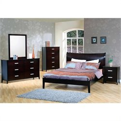 Coaster Auburn Queen Platform Bed 5 Piece Bedroom Set in Cappuccino