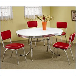 Coaster Cleveland 5 PC Chrome Plated Oval Dining Set