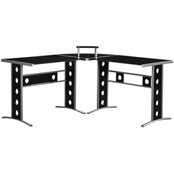 Coaster Modern L Shape Desk with Silver Frame & Black Glass