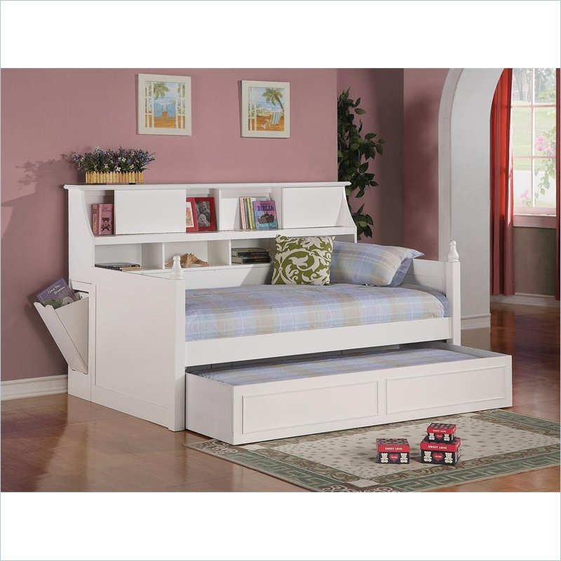 Coaster daisy bookcase wood daybed with under bed trundle Daybeds with storage