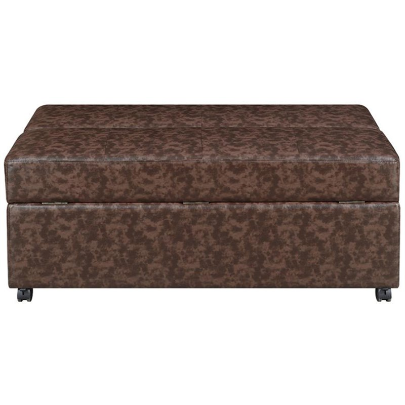 Coaster Faux Leather Sleeper Ottoman in Dark Brown