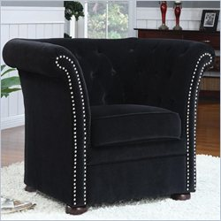 Coaster Tufted Club Chair in Black