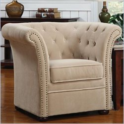 Coaster Tufted Club Chair in Beige