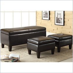Coaster 3 Piece Storage Bench and Ottoman in Faux Leather