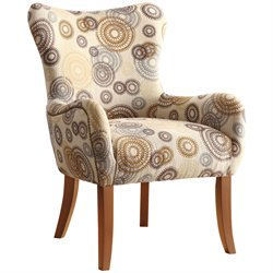 Coaster Upholstered Accent Arm Chair in Beige Geometric Pattern