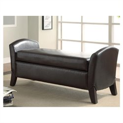 Coaster Faux Leather Storage Bench with Curved Ends