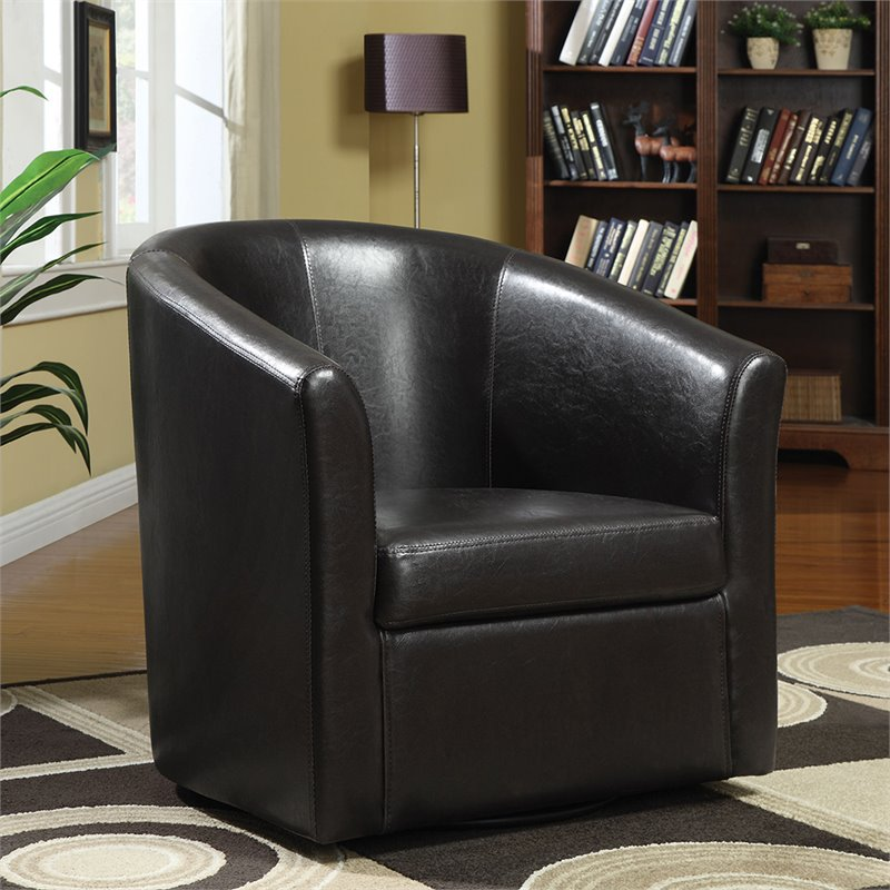 Coaster Leather Club Chair in Brown