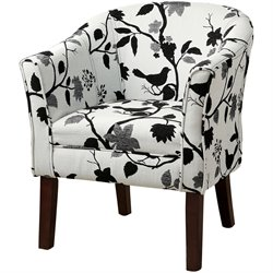 Coaster Accent Barrel Chair in Bird and White Branch Pattern