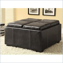 Coaster Storage Ottoman Black Faux Leather