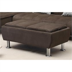 Coaster Casual Microfiber Ottoman with Serving Trays in Brown