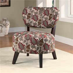 Coaster Upholstered Slipper Chair in Brown Floral Pattern
