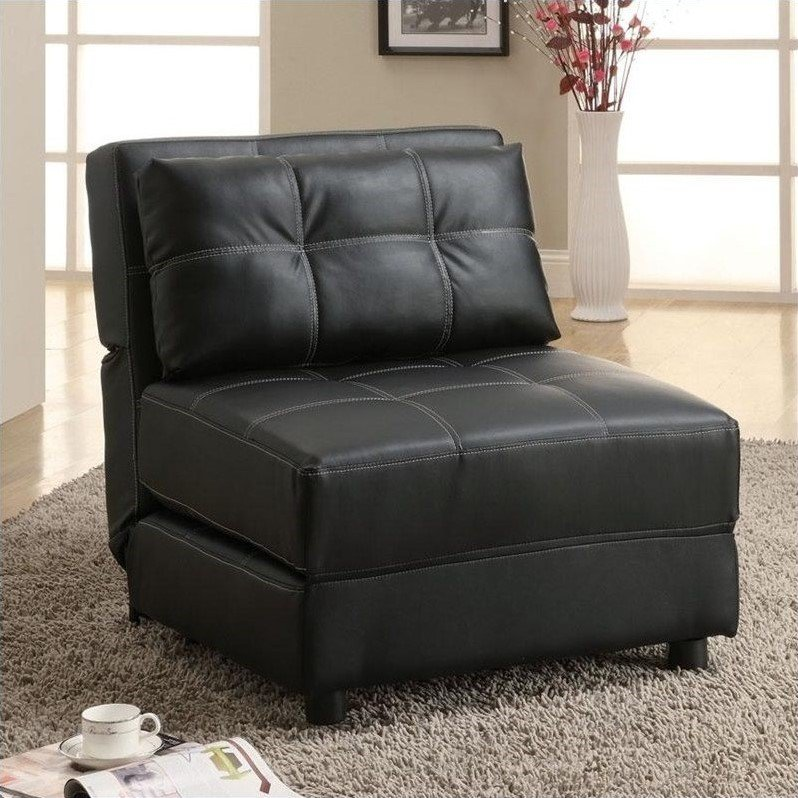 Coaster Faux Leather Convertible Chair in Black