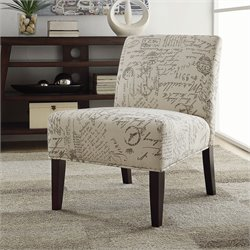 Coaster Upholstered Accent Slipper Chair in Script Ivory