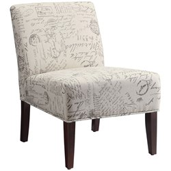 Coaster Contemporary Style Armless Accent Chair in Paisley Pattern