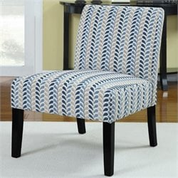 Coaster Upholstered Accent Slipper Chair in Blue Leaf pattern