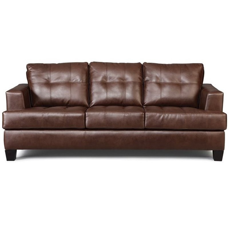 Coaster Samuel Faux Leather Stationary Sofa in Dark Brown
