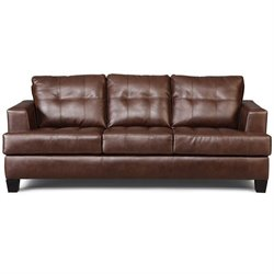 Coaster Samuel Leather Stationary Sofa in Dark Brown