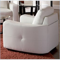 Coaster Jasmine Leather Club Chair in White