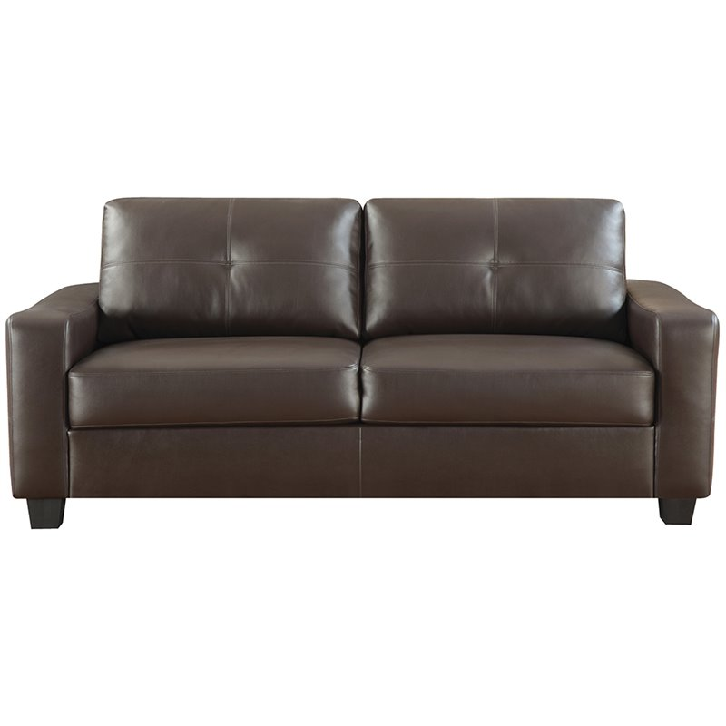 Coaster Jasmine Leather Sofa in Dark Brown