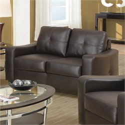 Coaster Jasmine Leather Love Seat in Dark Brown