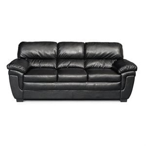 Coaster Fenmore Casual Split Back Leather Sofa in Black