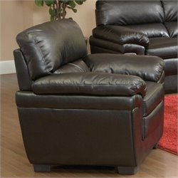 Coaster Fenmore Casual Double Pillow Leather Arm Chair in Black