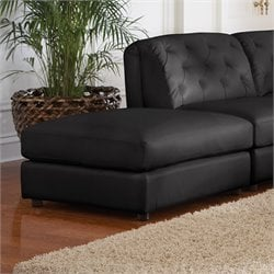 Coaster Quinn Contemporary Square Leather Storage Ottoman in Black