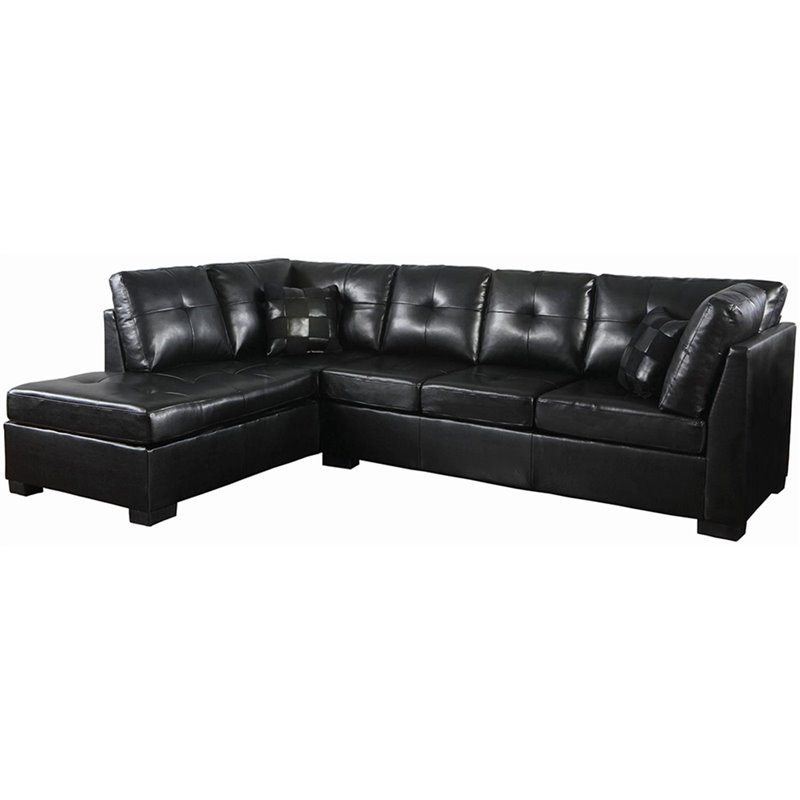 Coaster darie leather sectional sofa with left side chaise for Black sectional with chaise