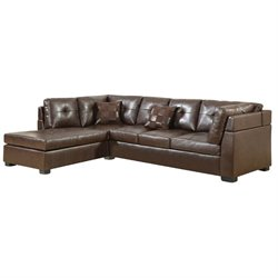 Coaster Darie Leather Sectional Sofa with Left-Side Chaise in Brown