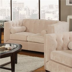 Coaster Alexis Transitional Microvelvet Love Seat in Almond