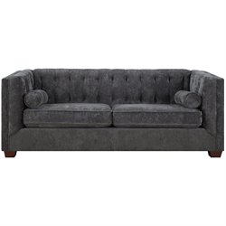 Coaster Alexis Transitional Microvelvet Chesterfield Sofa in Charcoal