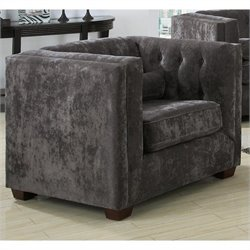Coaster Alexis Tufted Microvelvet Club Arm Chair in Black