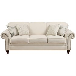 Coaster Norah Antique Inspired Sofa with Nail Head Trim in Oatmeal
