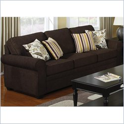 Coaster Rosalie Stationary Sofa with Accent Pillows in Dark Brown
