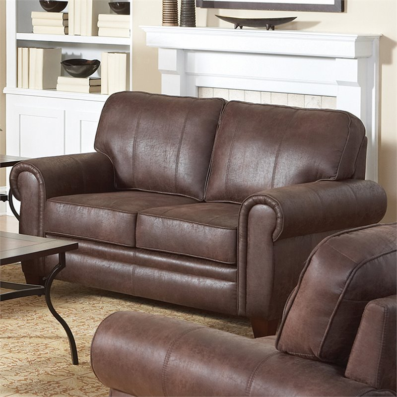 Coaster Bentley Rustic Styled Microfiber Loveseat in Brown