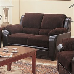 Coaster Monika Stationary Love Seat in Chocolate