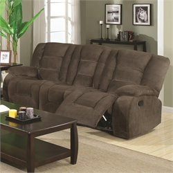 Coaster Charlie Motion Reclining Sofa in Brown Sage Velvet