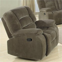 Coaster Charlie Glider Recliner Chair in Brown Sage Velvet