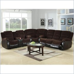 Coaster Johanna Reclining Corduroy Sectional in Chocolate