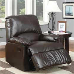 Coaster Split Back Faux Leather Glider Recliner Chair in Dark Brown