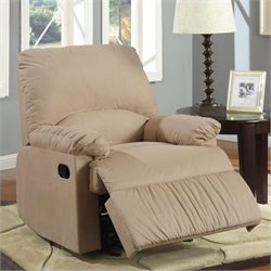 Coaster Microfiber Upholstered Glider Recliner Chair in Light Brown
