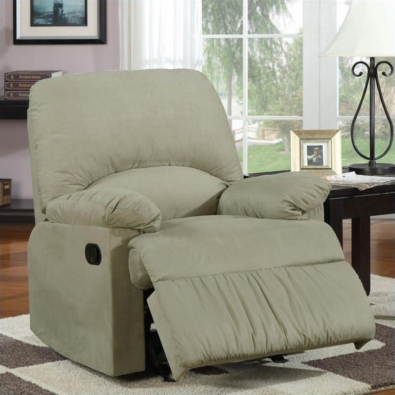 Microfiber Upholstered Glider Recliner Chair in Sage