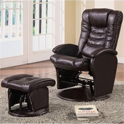 Coaster Faux Leather Glider Recliner Chair with Ottoman in Brown