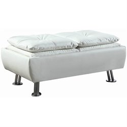 Coaster Faux Leather Contemporary Styled Storage Ottoman in White