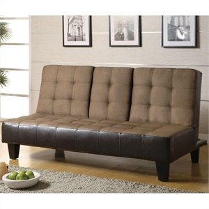 Coaster Two Tone Faux Leather Convertible Sofa Bed with Console in Tan